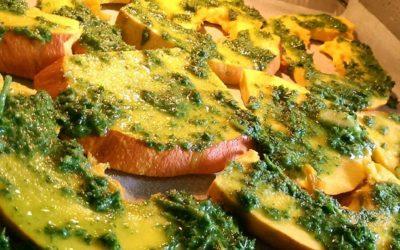 Calabaza al horno con mojo de cilantro